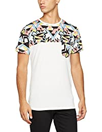 Mick Morrison T-shirt für Herren in weiß und buntem print mit Brusttasche