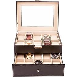 TRESKO® Uhrenbox für 20 Uhren Uhrenkasten Uhrenschatulle Uhrenkoffer Uhrenaufbewahrung aus Kunstleder, schwarz