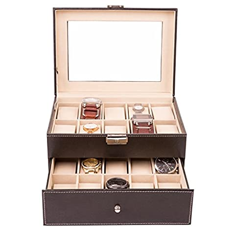 TRESKO® Boîte à montres Écrin à montres Coffret à montres Présentoir à montres, pour le voyage, cuir synthétique, noir, 20