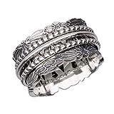 Energy Stone - Bague anti-stress CHRYSANTHÈME - argent sterling /trois anneaux mobiles (modèle# US78)