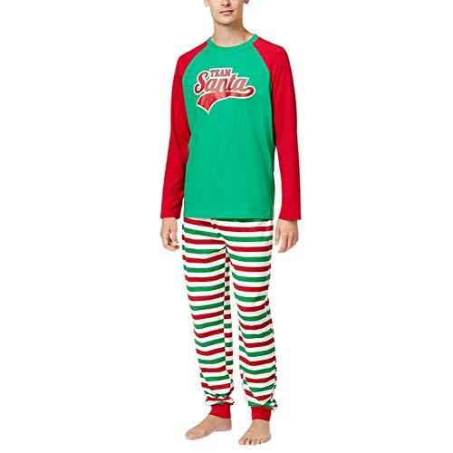 Hankyky Weihnachten Familie Pyjama Set Eltern-Kind Passende Kleidung langärmelige Tops Gestreifte Hose Nachtwäsche für Papa Mama Kinder