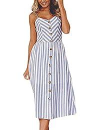 018038e0ed56 HARRYSTORE Women Sling Pineapple Sunflower Printing Buttons Off Shoulder  Sleeveless Slim Waist Pocket…