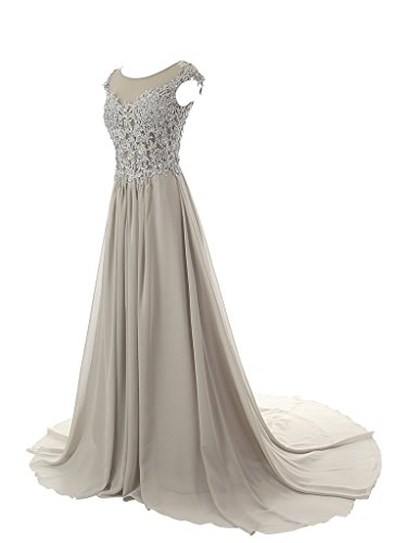 JAEDEN A Linie Chiffon Ballkleider Lang Kappenhuelse Abendkleid Festkleid Applikation Rosa