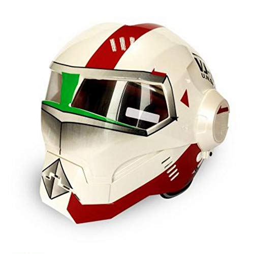Douerye Casco Moto Iron Man Casco Integrale svelato Casco Ghost Face Casco omologato ECE Four Seasons Helmet Road Race,superwhitetime,M