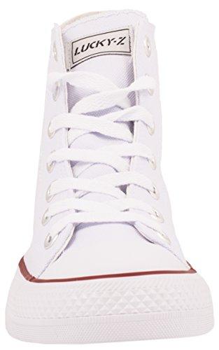 Elara Unisex Kult Sneaker   Bequeme Sportschuhe für Damen und Herren   High top Textil Schuhe 36-47 Weiß