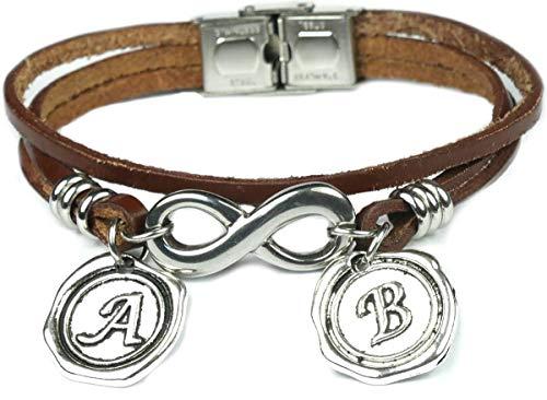 Lufetti Armband Leder Unendlich Infinity Edelstahl 3SU (braun)