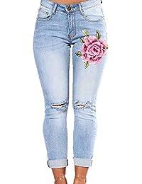 d69fb0e6e5f Jeans Femme Taille Haute Pantalon Denim Trou Brodé Fleurs Pantacourt Slim  Fit Skinny Pantalon de Crayon