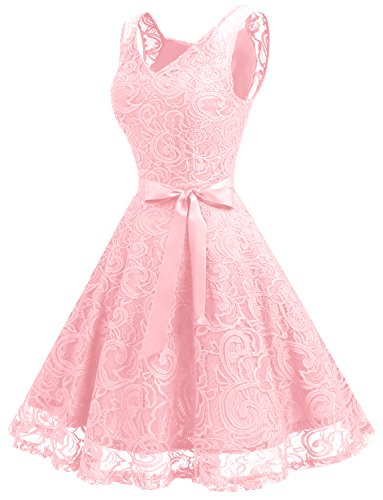 Dressystar Brautjungfernkleid Ohne Arm Kleid Aus Spitzen Spitzenkleid Knielang Festliches Cocktailkleid Rosa