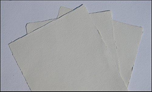 handgeschöpftes Büttenpapier Aquarellpapier A5 10 Bogen/Set warmweiß 200g/m offwhite² BaumwollLinters handmade cotton-paper
