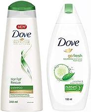 Dove Hair Fall Rescue Shampoo, 340ml & Dove Go Fresh Nourishing Body Wash, 190ml
