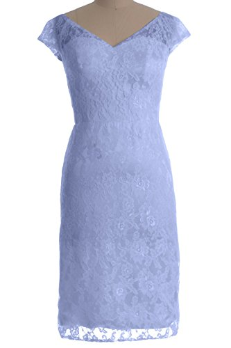MACloth Women Customized V Neck Lace Short Mother of Bride Dress Cocktail Gown Himmelblau