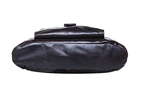 Genda 2Archer vera pelle Borsa messenger Cross Body Satchel Bag borsa libro Borsa ufficio grigio nero