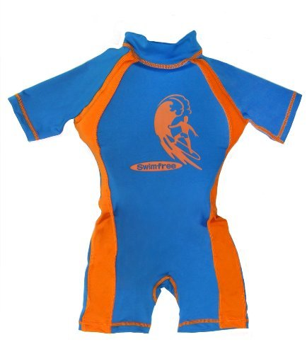 Swimfree Boys Blue/Orange Floating Swimsuit Sun Protection Swim Suit Spf+50 Flotation Suit Size Large For Kids Age 5.5-7.5 Years Old