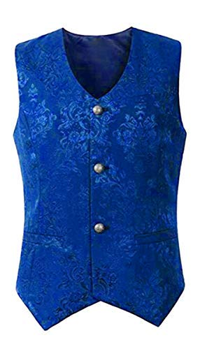 mpunk Gothic Mittelalter Weste Vintage Frack Ärmellos V-Ausschnitt Jacke Retro Victorian Uniform Vest Kurz Männer Oberteil Tops Halloween Kostüm Vampir Cosplay Verkleidung ()