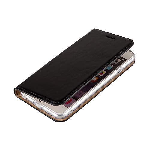 Wormcase Handytasche kompatibel mit iPhone 6 und 6S - ECHTLEDERHÜLLE - KARTENFACH -MAGNETVERSCHLUSS - Schwarz - Case Echt-Leder-Tasche-Hülle-Case Etui Flip Schutz-huelle Echtes-leder Flip Handy Form