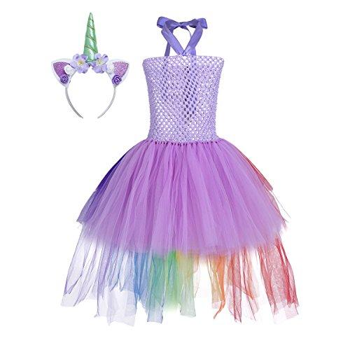 Tiaobug Mädchen Einhorn Kostüm Set Prinzessin Kleid + Blumen Haarband Haarreif für Kinder...