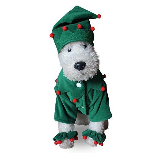 JNTM Haustier Hund Kleidung Weihnachten Elf Kostüm Niedlichen Cartoon Kleidung Für Kleine Hund Tuch Kostüm Kleid Xmas Apparel Für Kitty Dogs Für Halloween, Weihnachten, Fasching, Ball Party,M