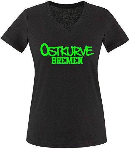 EZYshirt® Ostkurve Bremen Damen V-Neck T-Shirt Schwarz/Neongrün