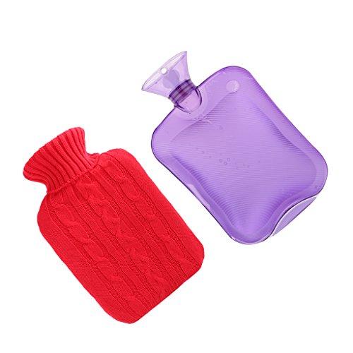 2000ml Gummi Wärmflasche Tasche Hände Füße Warm Wärme Kälte Therapie + Abdeckung