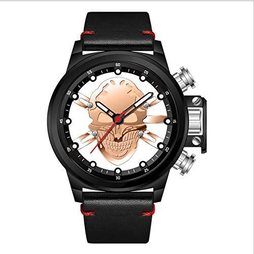 Hombres Relojes Punk 3D Hollow Cráneo Deporte Reloj Cuarzo Mens Relojes Top Marca De Lujo Impermeable Relogio Deportes Cráneo Watch,Pink