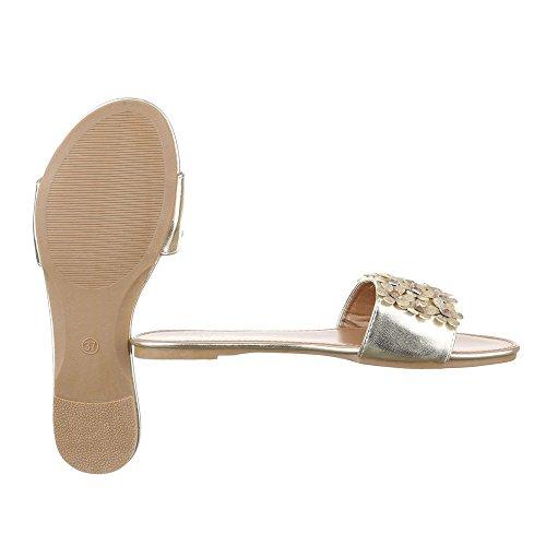 Pantoletten Damen Schuhe Jazz & Modern Strass Besetzte Ital-Design Sandalen / Sandaletten Gold