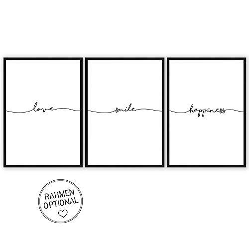 3er Set: love - smile - happiness - Kunstdrucke auf wunderbarem Hahnemühle Papier DIN A4 -ohne...