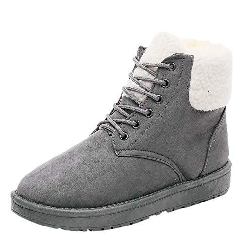 TianWlio Boots Stiefel Schuhe Stiefeletten Frauen Herbst Winter Schneestiefel Classic Winterstiefel Warmer Plüsch Einlegesohle Stiefeletten Schnürschuhe Weihnachten Grau 38