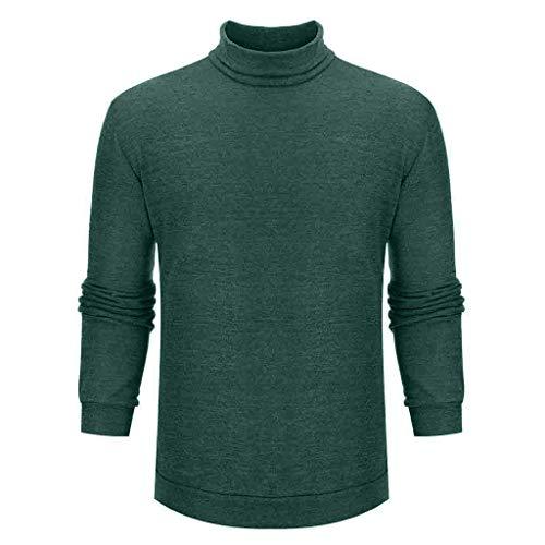 Yowablo Pullover Herren Stehkragen Reine Farbe Modisch Komfortabel Groß Langarm Top (M,Grün)
