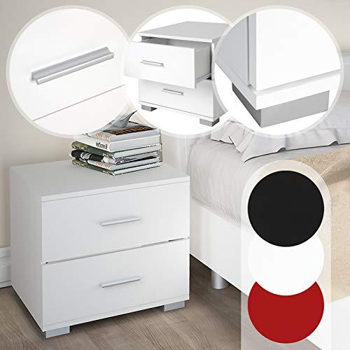 Nachttisch 2er-Set | 40x40x35 cm, Robuster MDF, Griffe aus Metall, Weiß, mit zwei Schubladen | Nachtschrank, Kommode Ablagetisch, Nachtkommode -