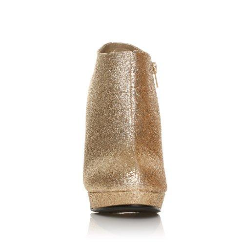 H20 Pumps Champagner Glitzer Stilleto sehr hoher Absatz knöchelhoch Champagne paillettes