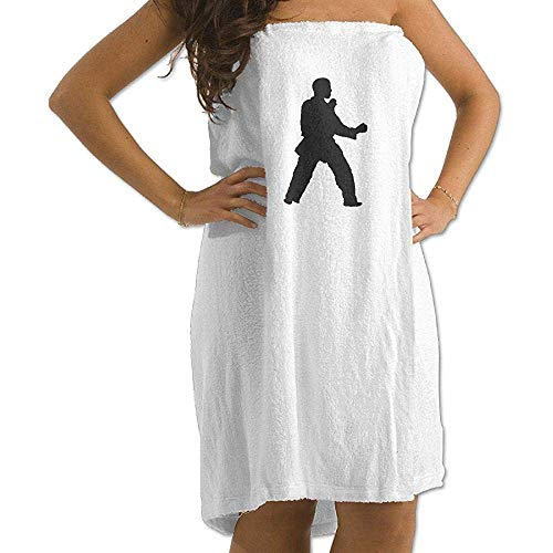 Bikofhd Adult Beach Towels,Karate Karate2 Spa Shower and Bath Wrap Towels Large Size Towels - White,80x130cm