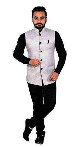 Männer Hochzeit Weste Kurta Pyjama Shalwar Kameez Jacke 1005 (50 (XXXXL - UK), Grau) -