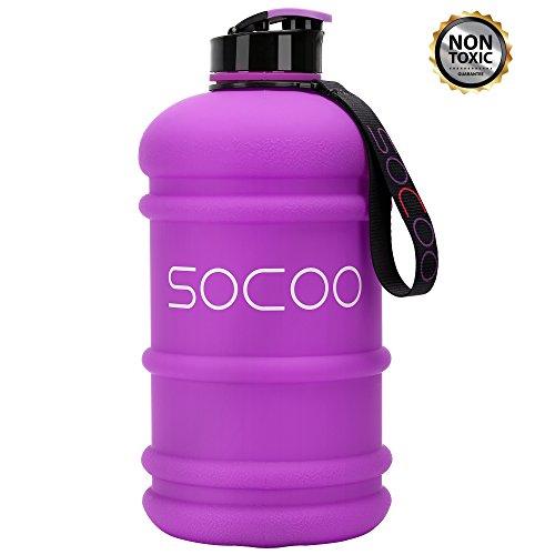 SOCOO Trinkflasche 2.2L Gym Bottle BPA frei - Fitness Wasser Flasche- auslaufsicher (Lila)