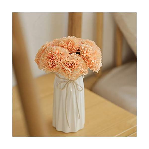 HELA Ramo de Flores Artificiales de Clavel de 23 cm, 8 Unidades en 1, decoración para el hogar o el jardín, Amarillo, 20…