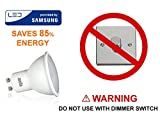 from ANSIO GU10 LED Bulb Warm White, 5W Equivalent to 35 Watts Halogen, Non Dimmable, 350 lumens, 3000K, 120 Beam Angle - Pack of 10 | LED Provided by Samsung | DO NOT USE WITH DIMMER SWITCHES
