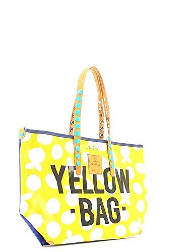GABS - Gabsille, Borsa con Maniglia Donna Stamp Yellow Bag
