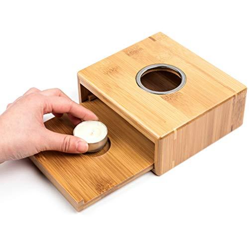 LENRUS Stövchen Teewärmer Kaffeewärmer aus Bambus mit Teelichthalter,Teelicht und Teekanne ist Nicht enthalten