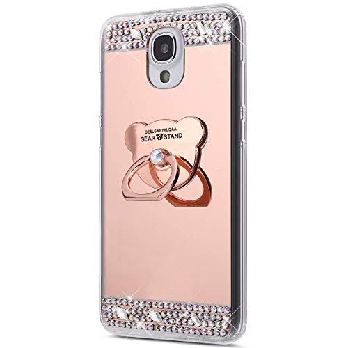 Surakey Cover Samsung Galaxy S4, Specchio Silicone Morbido Cover con Anello Supporto Bling Strass Glitter Diamante Lusso Mirror Case Ultra Sottile Protettiva Custodia per Galaxy S4,Orso Oro Rosa