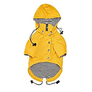 Ellie Dog Wear Yellow Zip Up Dog Raincoat With Reflective Buttons, Pockets, Rain/Water Resistant, Adjustable Drawstring, Removable Hoodie - Extra Small to Extra Large - Stylish Dog Raincoats 60