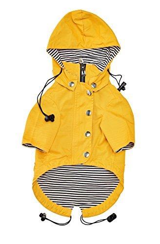 Gelber modischer Regenmantel mit Reißverschluss für Hunde mit reflektierenden Knöpfen, Taschen, regen-/wasserfest, verstellbare Zugbänder und abnehmbare Kapuze, Größe XS bis XL von Ellie Dog Wear