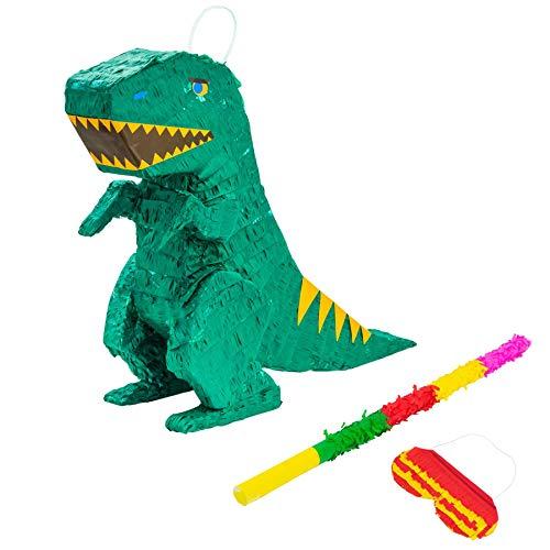 Fax Kartoffel Dinosaurier Pinata Set mit Stick & Blindfold - 48 x 13.5 x 41.5cm - Grün