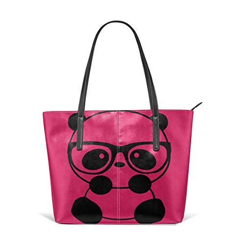 XGBags Custom Frauen Umhängetaschen Durable Panda Nerd With Glasses Leather Handbag Tote Bag For Women