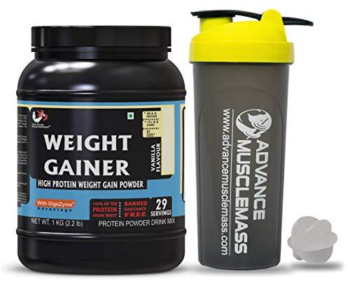 Advance MuscleMass High Protein Weight Gainer Supplement Powder with 700 ml Shaker (Vanilla, 1 kg/2.2 lb)