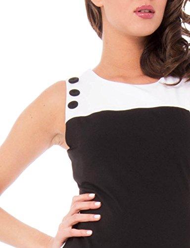 Solo Capri Abito Asimmetrico Bicolore, Robe Femme multicolore (nero_bianco)