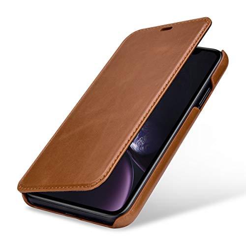 StilGut Schutz-Hülle kompatibel mit iPhone XR Book Type aus Echtleder, Cognac