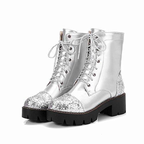 Misssasa Femme Chaussures Avec Punk Low Heel Et Silver Fashion