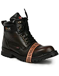 Bacca Bucci Mens 6 inches Premium Water Repellent Steel Toe Cap Real Leather PDM MILD Outdoor Laceup Boots/Warranted Quality & Durable Boot-Brown