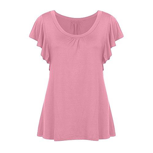 PorLous2019 Trend Der Frauen Populäre Beiläufige Frauen Kurzärmliges Oansatz Faltete Hemd Beiläufiges Elegantes T-Shirt Oben Sexy Göttin
