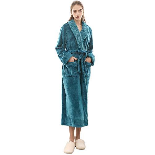 ASHOP Damen - Bademantel lang, Kimonokragen, Größen: S bis XXL verfügbar, Farbe Grün/Grau/Lila/Rot/Weiß, Morgenmantel Grün,XXXL
