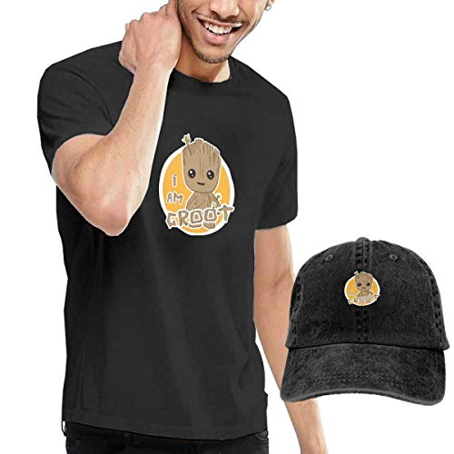 SOTTK Kurzarmshirt Herren, t-Shirts, Tee's, I AM Groot Men's Classic T-Shirt with Washed Denim Baseball Hat Black (J Crew Denim-kleid)